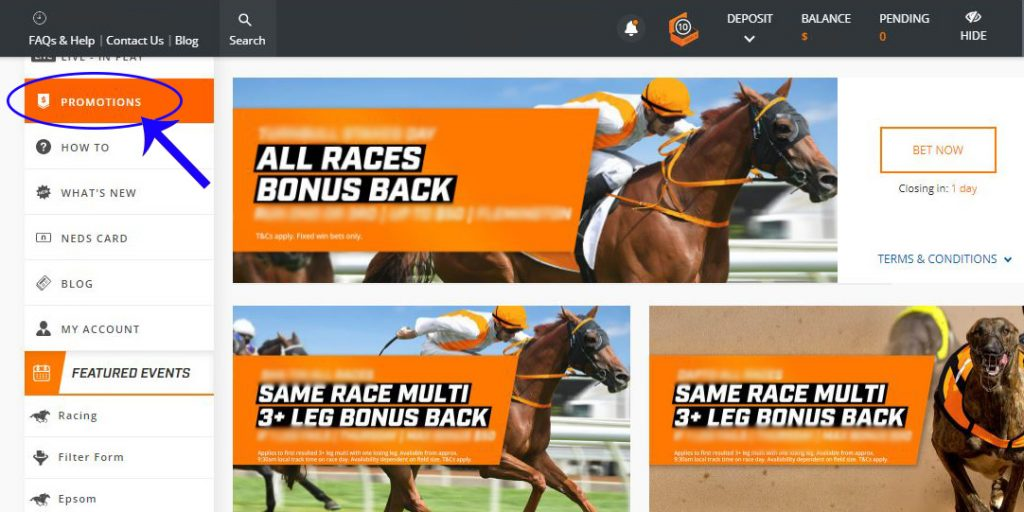 Betting Site's Promotions Page